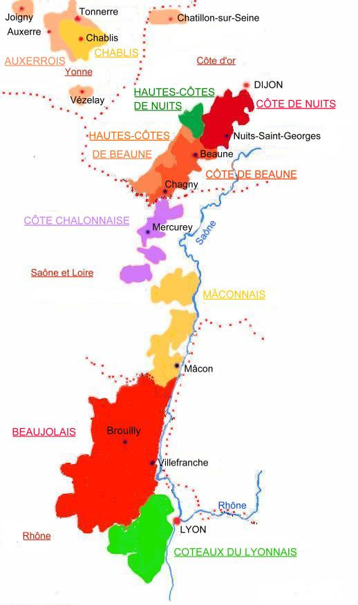 Carte Route Des Vins Bourgogne.Les Vignobles De Bourgogne La Region Bourgogne Bourgogne