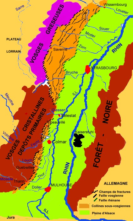 Carte Calcaire Alsace.L Alsace Geologie De La France Geologie Vins