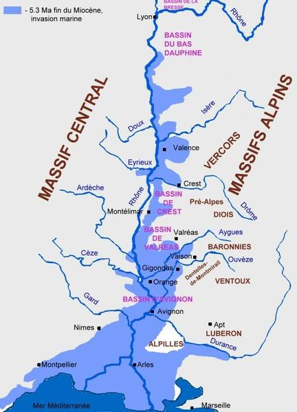 vallée du rhone carte La Vallée du Rhône / Géologie de la France / Géologie / Vins