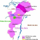 Carte des appellations viticoles du Jura.